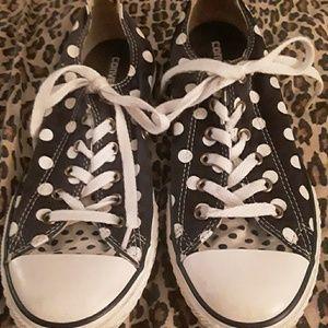 Girl's Black & White polka dot Converse, Sz.5